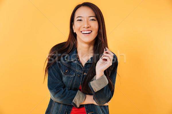 幸せ アジア 女性 デニム ジャケット ストックフォト © deandrobot