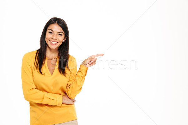 Stok fotoğraf: Portre · genç · kadın · işaret · parmak · uzak
