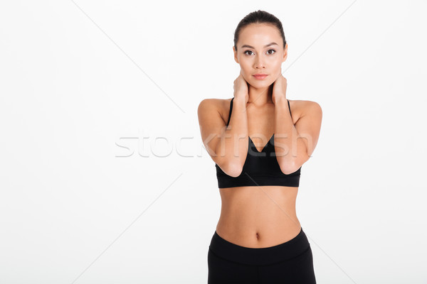Elképesztő fiatal sportok nő fotó pózol Stock fotó © deandrobot