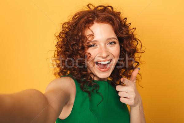 Közelkép portré derűs vörös hajú nő nő ruha Stock fotó © deandrobot