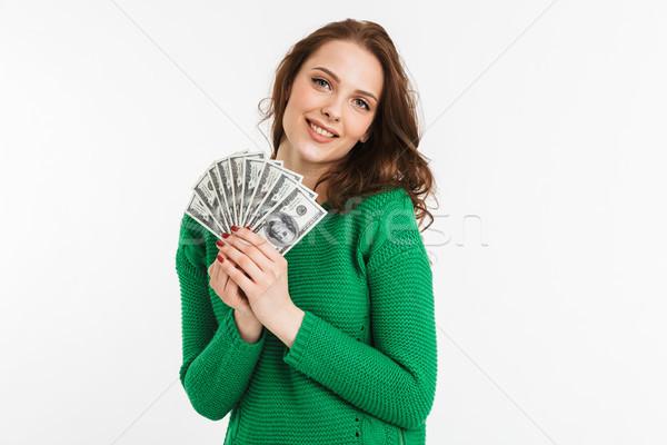 肖像 満足した 若い女性 お金 ストックフォト © deandrobot