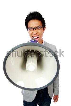 Portre genç Asya adam megafon Stok fotoğraf © deandrobot