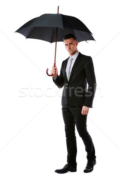 Portret zakenman paraplu geïsoleerd witte Stockfoto © deandrobot