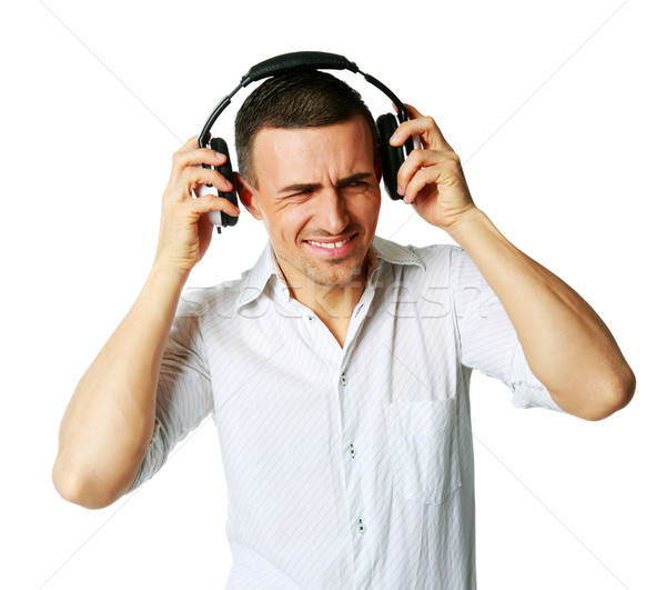 Homem não o que ouvir música homem branco Foto stock © deandrobot