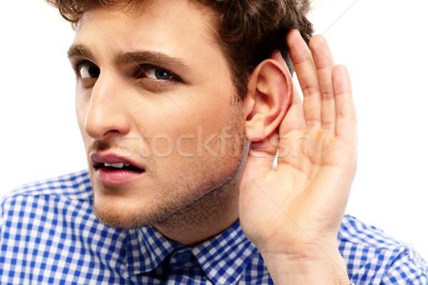 портрет молодые случайный человека разговор лице Сток-фото © deandrobot