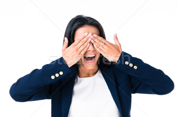 Young businesswoman covering her eyes Stock photo © deandrobot