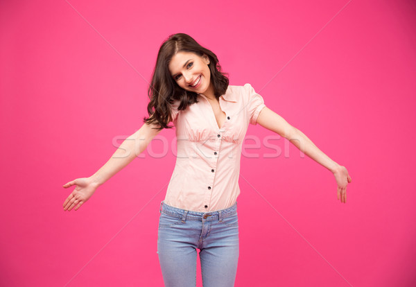 Happiness young woman glad to see you Stock photo © deandrobot