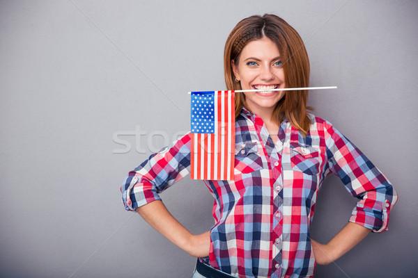 Stok fotoğraf: Kadın · ABD · bayrak · dişler · mutlu