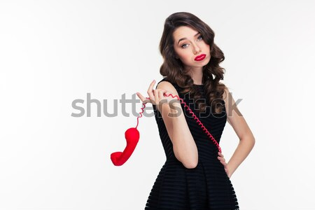 Amazed beautiful curly woman in retro style pointing on you Stock photo © deandrobot