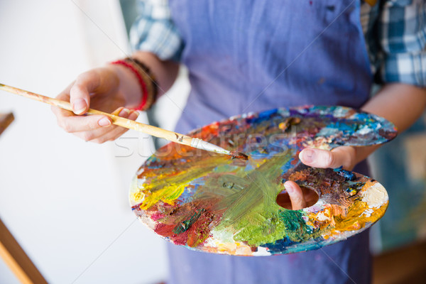 Palette with mixed paints holded by hands of woman artist Stock photo © deandrobot
