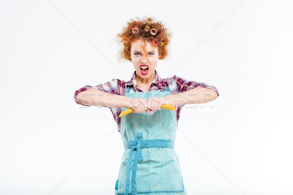 Zły gospodyni domowa spaghetti odizolowany biały kobieta Zdjęcia stock © deandrobot