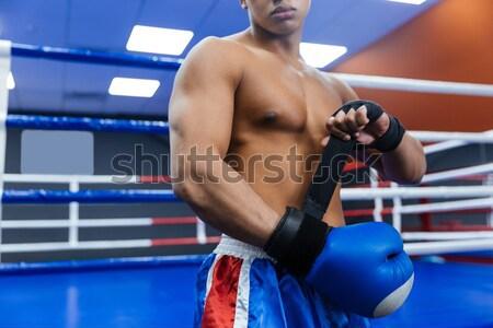 Boxeador formación boxeo anillo guapo fitness Foto stock © deandrobot