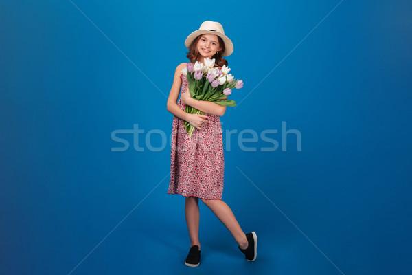 Stockfoto: Charmant · vrolijk · meisje · permanente · boeket