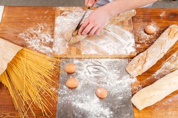 Tavolo in legno Baker fresche pane cucina Foto d'archivio © deandrobot