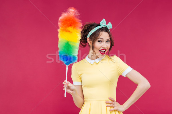 Smiling attractive pinup girl holding colorful duster brush Stock photo © deandrobot
