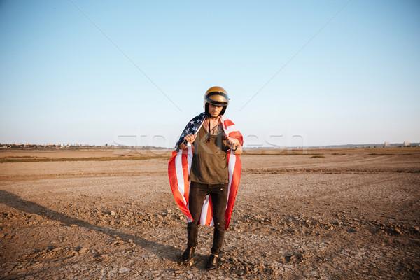 男 着用 アメリカンフラグ ヘルメット ポーズ ストックフォト © deandrobot