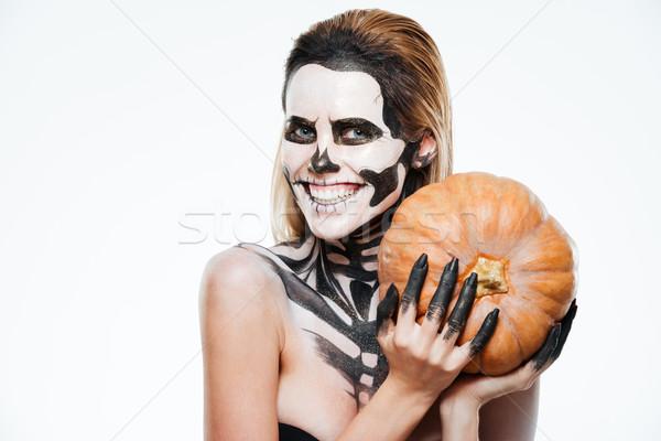 Mutlu kadın korkmuş halloween makyaj Stok fotoğraf © deandrobot