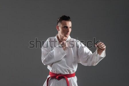 Sportsman in kimono practice in karate Stock photo © deandrobot