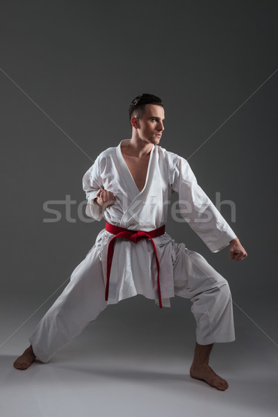 Handsome sportsman in kimono practice in karate over grey background Stock photo © deandrobot