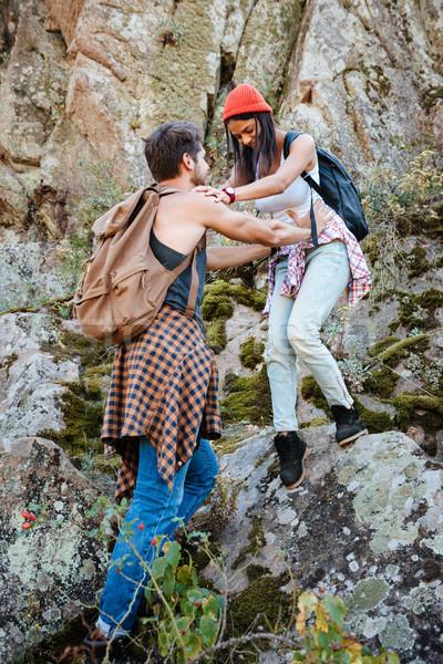 Uomo donna piedi rock viaggio Foto d'archivio © deandrobot