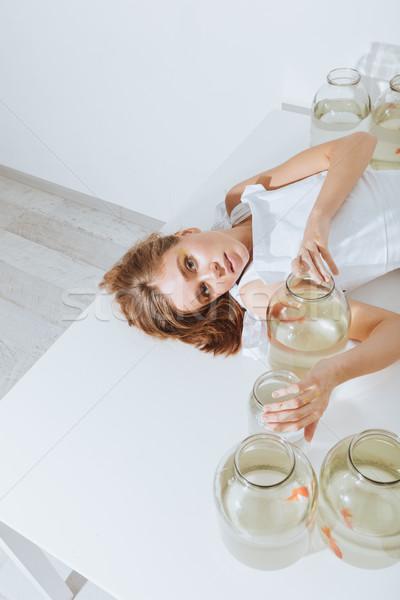 Top мнение женщину золото привлекательный Сток-фото © deandrobot