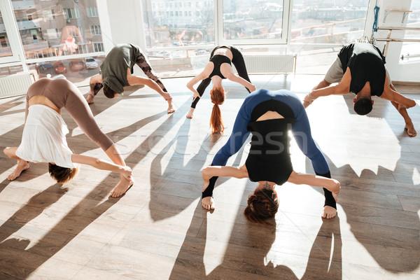Csoportkép edz jóga stúdió nő férfi Stock fotó © deandrobot