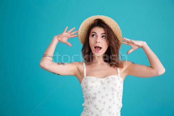 портрет Cute женщину соломенной шляпе позируют Сток-фото © deandrobot