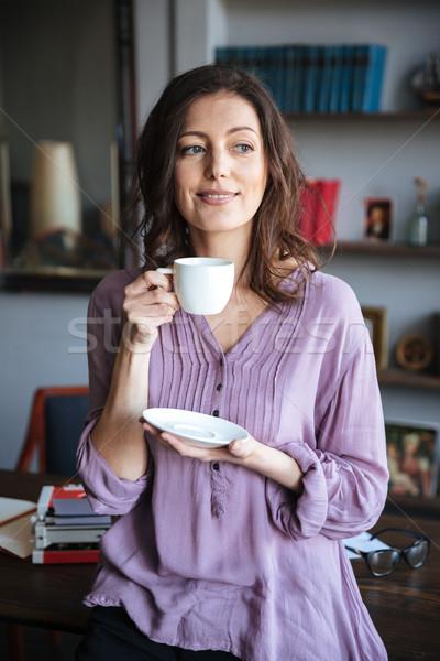 Retrato sorridente mulher madura copo Foto stock © deandrobot