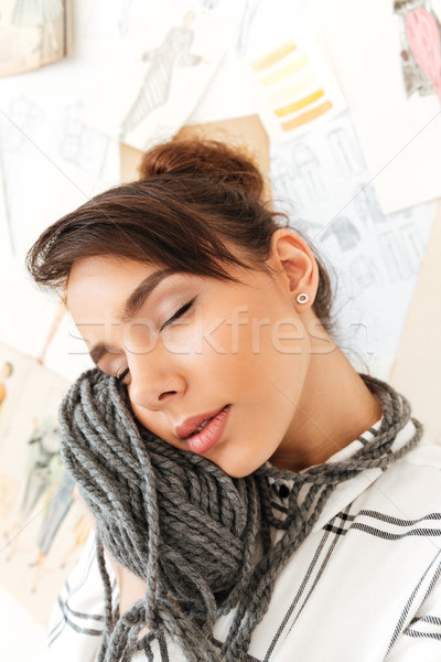 Nina hilados cerca cara Foto stock © deandrobot