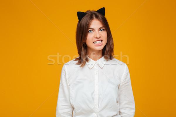 Nő őrült macska halloween jelmez fotó Stock fotó © deandrobot