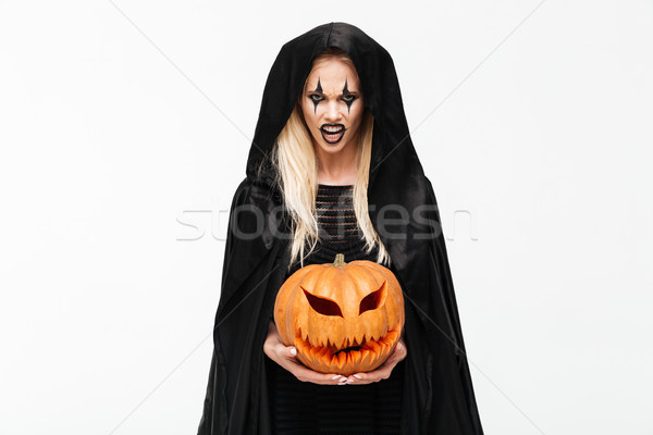 Portret scary boos blonde vrouw halloween make Stockfoto © deandrobot