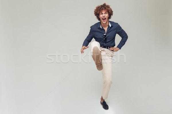 érzelmes retro férfi póló fotó fiatal Stock fotó © deandrobot