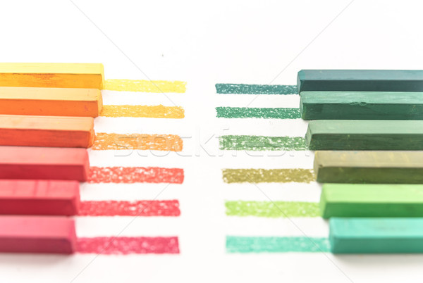 Cropped photo of colorful pastel chalks and their pigments Stock photo © deandrobot
