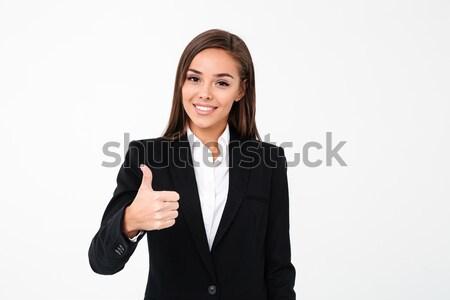 Feliz bastante mujer de negocios teléfono imagen Foto stock © deandrobot