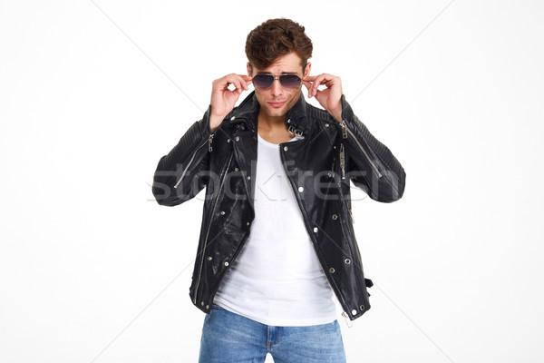 Stock fotó: Portré · szexi · brutális · férfi · bőrdzseki · napszemüveg
