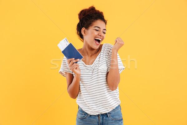 портрет счастливым международных паспорта Сток-фото © deandrobot