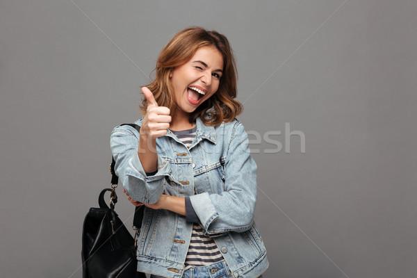 Portret radosny młodych denim kurtka Zdjęcia stock © deandrobot