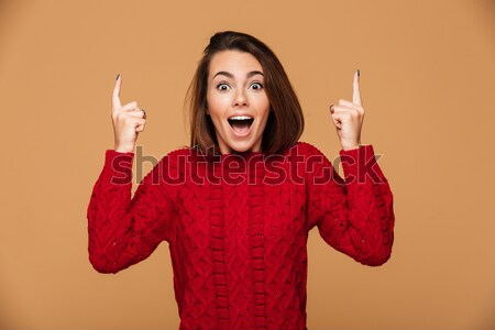 Young excited happy woman have an idea. Stock photo © deandrobot