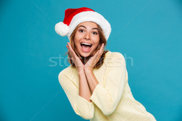 Image of Happy surprised woman in sweater and christmas hat Stock photo © deandrobot