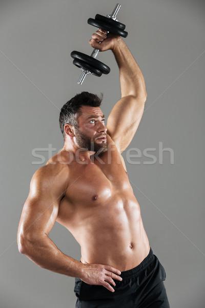 Portre sağlıklı güçlü gömleksiz erkek vücut geliştirmeci Stok fotoğraf © deandrobot