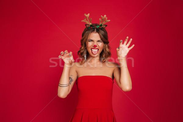 Portret cute jong meisje christmas herten Stockfoto © deandrobot