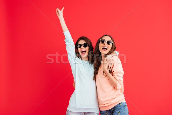 Portré kettő boldog lányok napszemüveg ölel Stock fotó © deandrobot