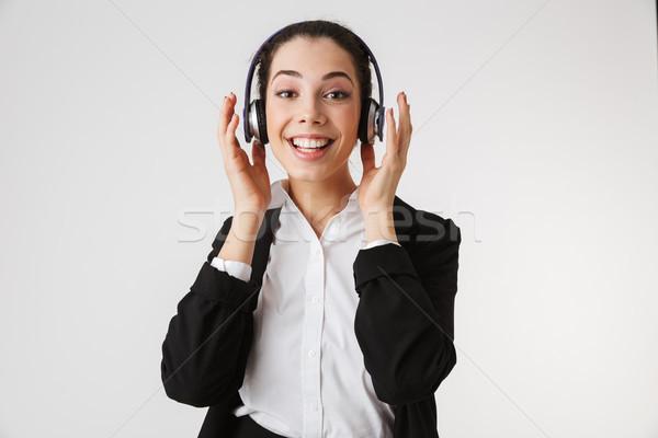 Photo stock: Excité · émotionnel · jeunes · femme · d'affaires · écouter · musique