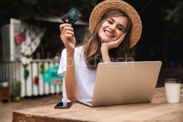 Happy young girl showing plastic credit card Stock photo © deandrobot