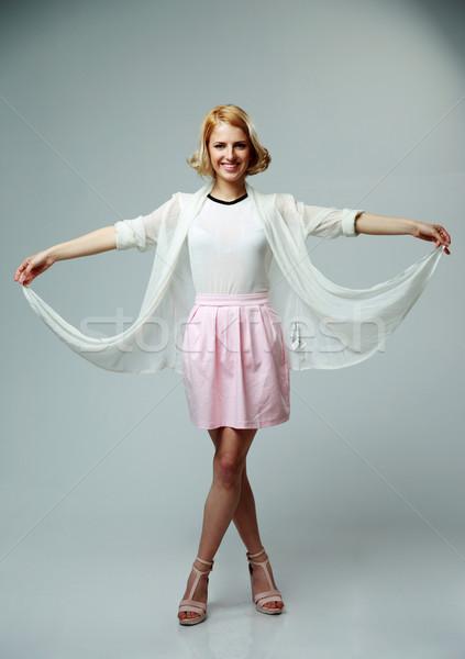 Heureux femme robe comme papillon Photo stock © deandrobot