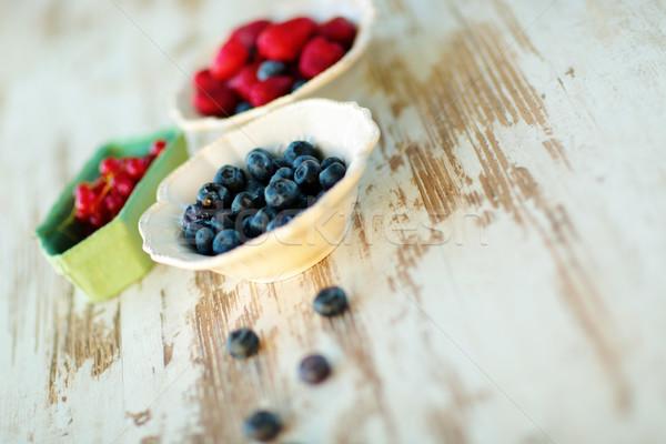 Photo stock: Bleuets · fraises · groseille · vintage · plaques