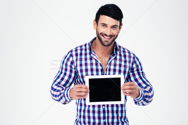Stock photo: Happy man showing tablet computer screen