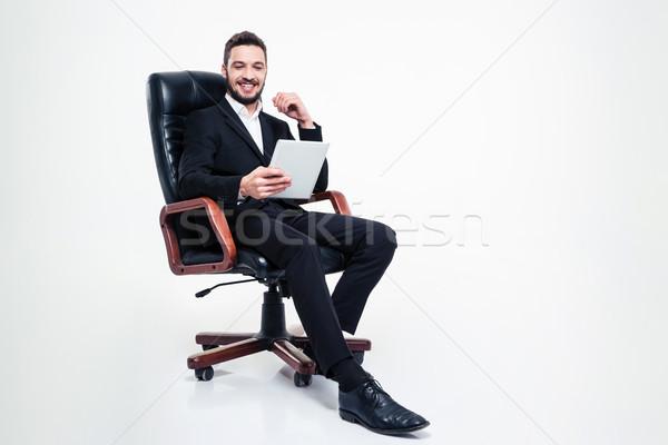 ビジネスマン 座って 事務椅子 タブレット ハンサム ストックフォト © deandrobot