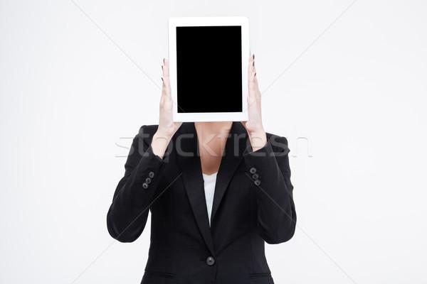 деловая женщина экране изолированный белый Сток-фото © deandrobot
