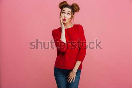 Cute sad young woman standing and asking Stock photo © deandrobot